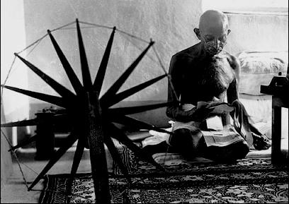 Gandhi with Charkha
